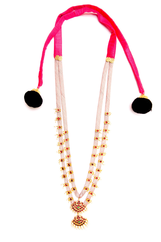 Plae Pink Color Double Layered Contemporary Temple Necklace