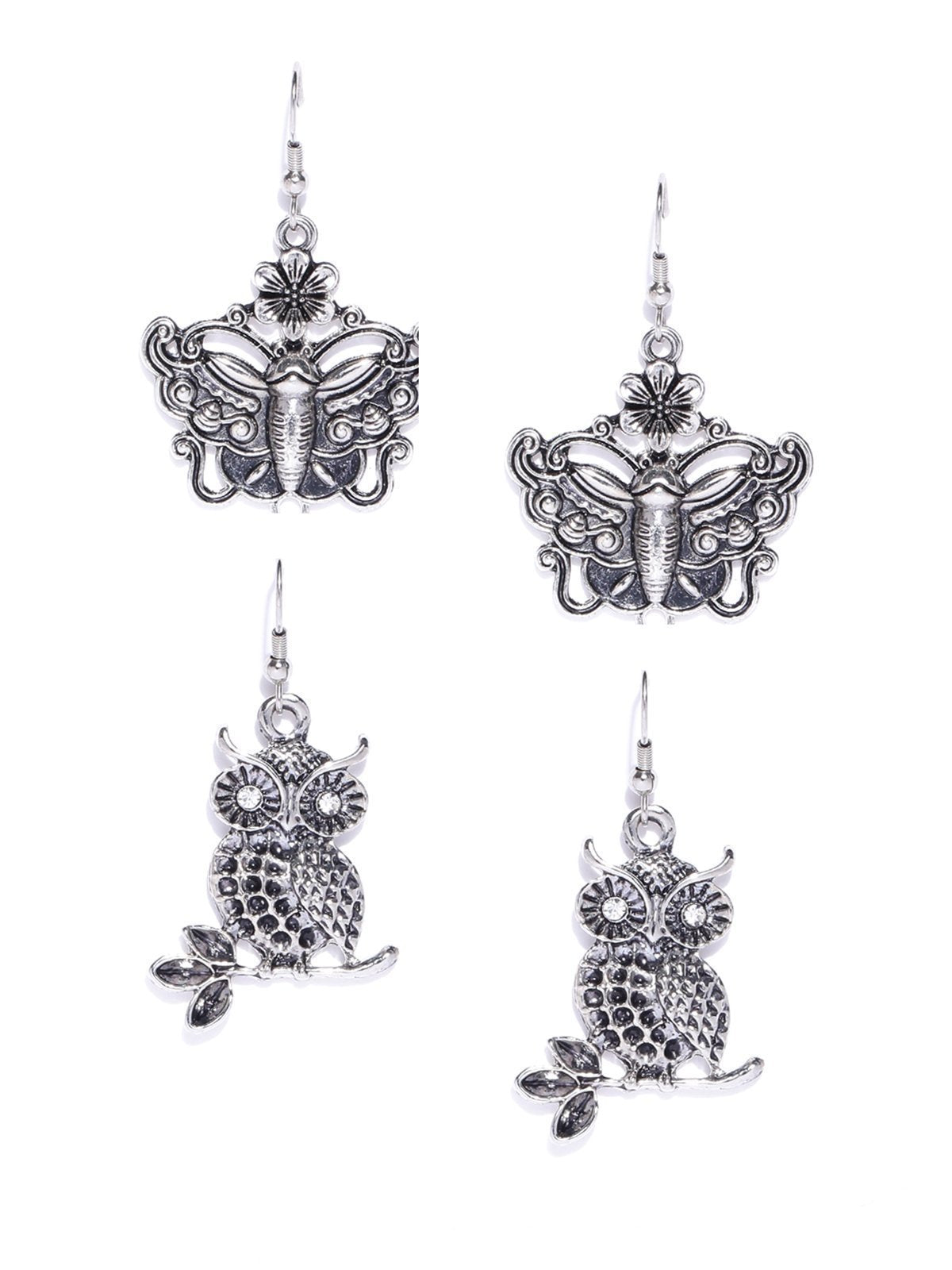 Zaveri Pearls Combo Of 2 Antique Silver Tone Dangle Earring