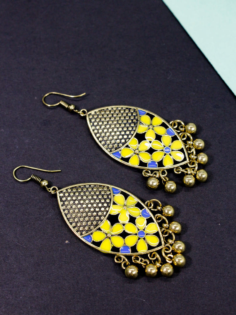 Aana Gold Plated Leaf Design Yellow And Blue Color Earring
