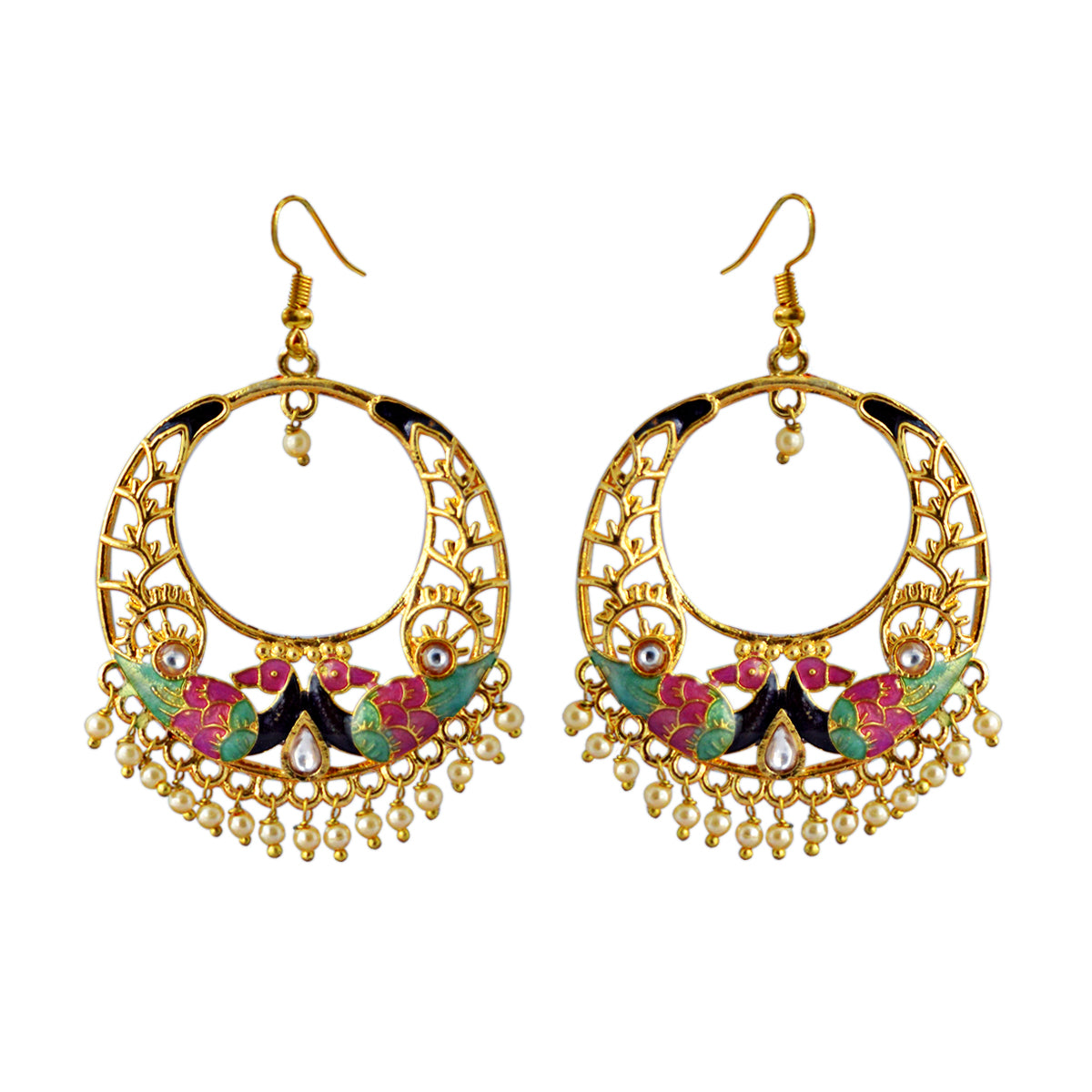 Pink And Green Reverse Peacock Meenakari Dangler Earring