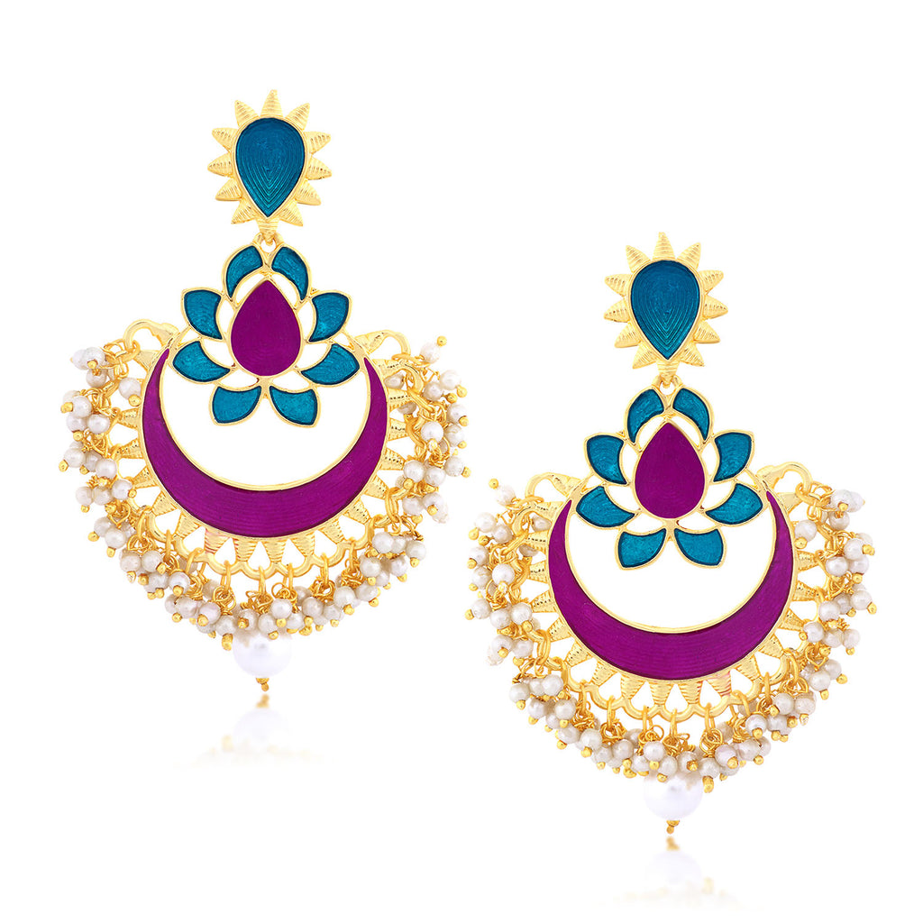 Sukkhi Graceful Chand Bali Gold Plated Earring for women-SUKKHI1-E78373