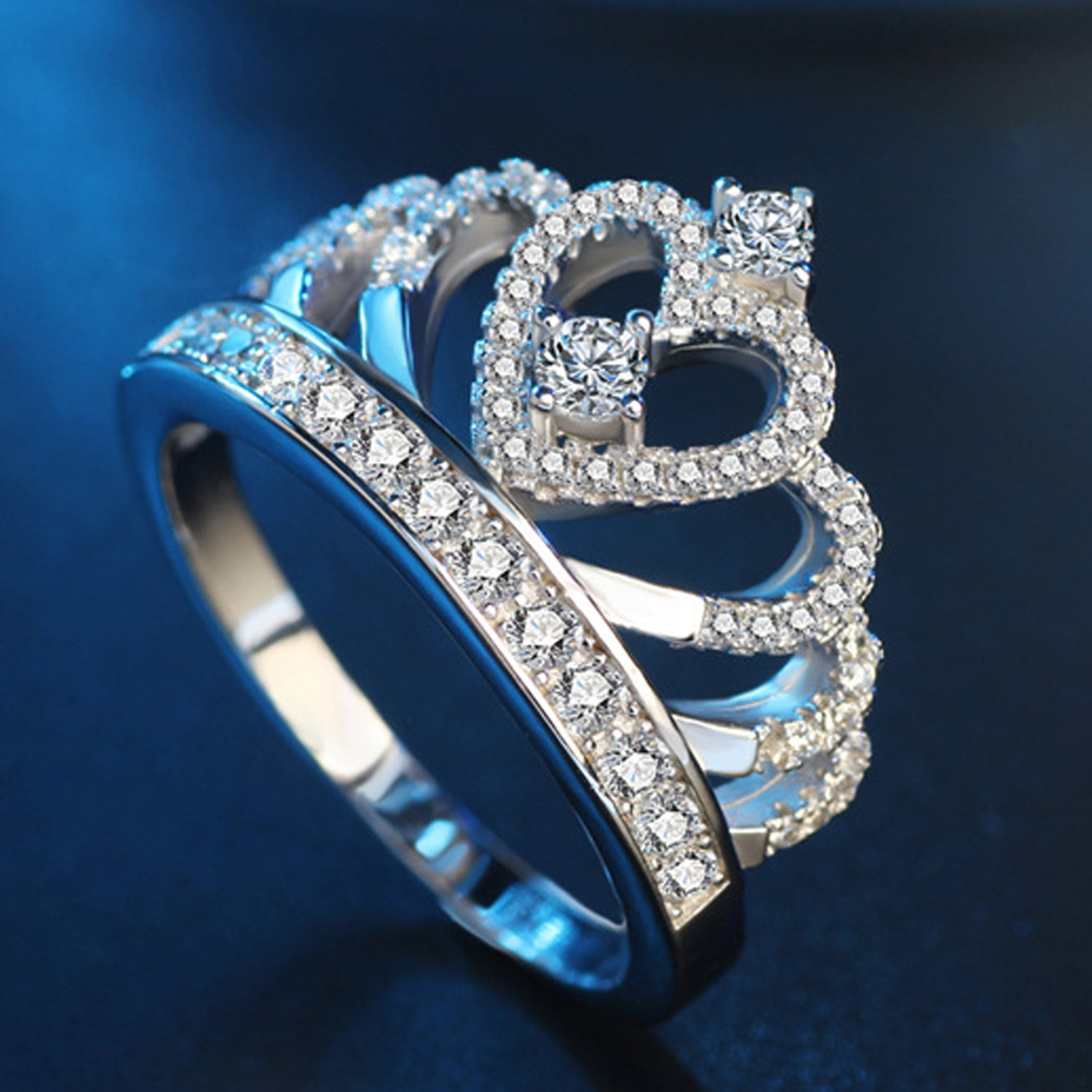 Sukkhi Attractive Princess Cubic Zirconia Rhodium Plated Finger Ring for Women-SUKKHI-Finger Ring
