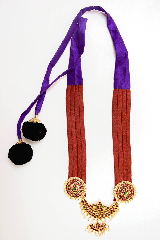 Maroon Color Half Shobha Contemporary Temple Necklace