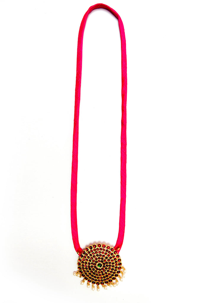 Pink Color Single Dollar Contemporary Temple Necklace