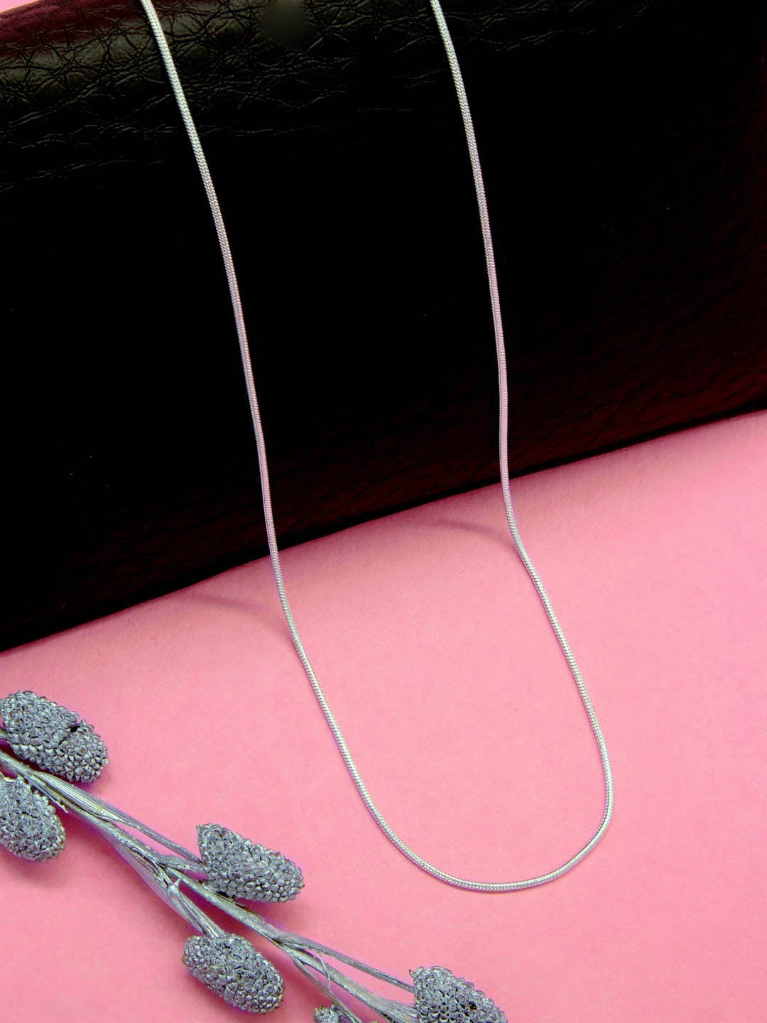 Silver Plated Geometric Design Long Necklace Chain By Aana-AANA-Necklace Chain