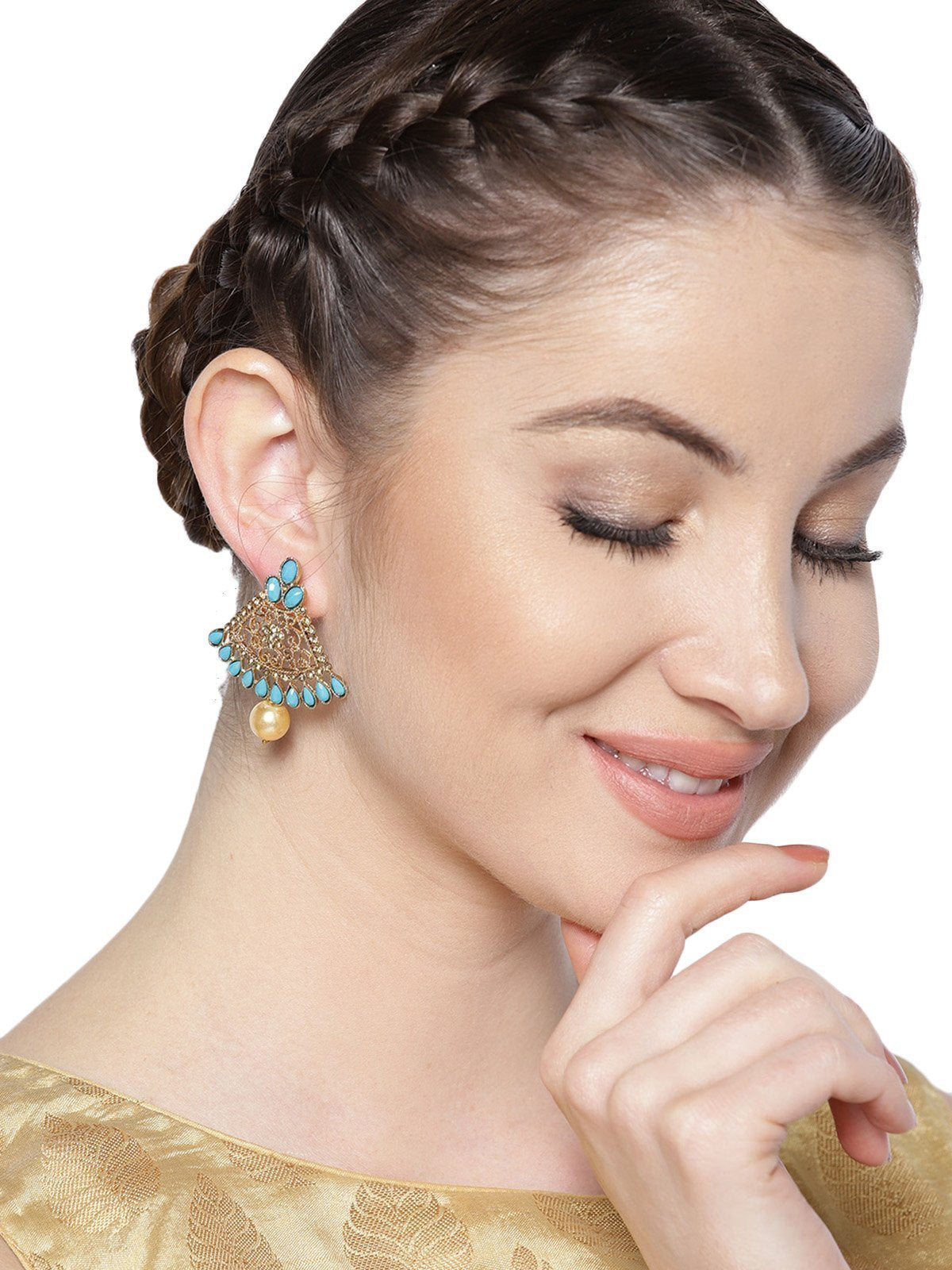 Zaveri Pearls Gold Tone Ethnic Dangle And Drop Earring