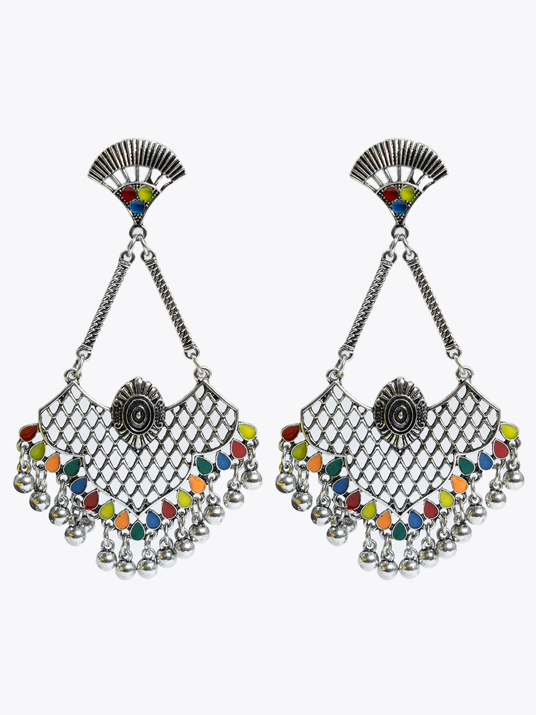 Aana Multicolor Geometric Design Dangler Earring