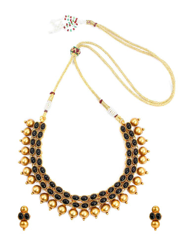 Matt Gold Finish Choker Necklace Set With Black Kemp Stones