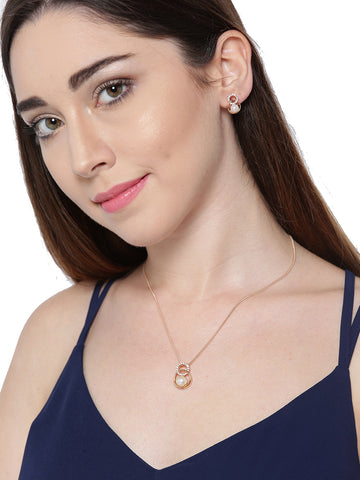 Zaveri Pearls Cubic Zirconia And Pearl Studded Rose Gold Pendant Set