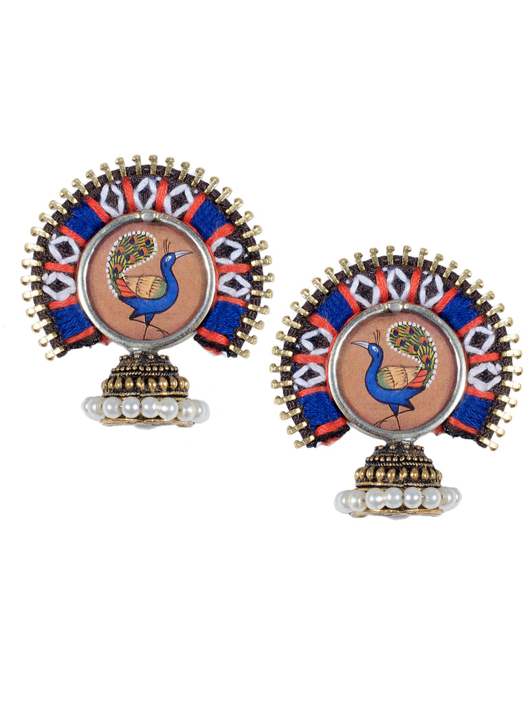 Brown and Blue Color Peacock Embroidered Jhumka Earring