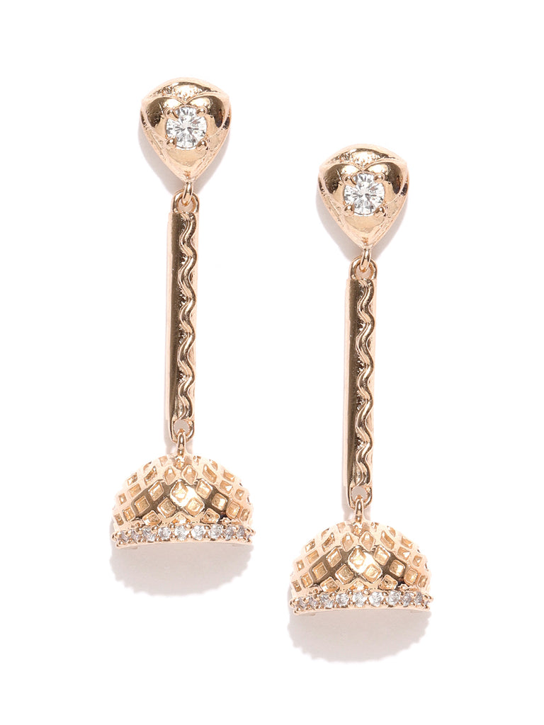 Zaveri Pearls Cubic Zirconia Studded Rose Gold Dangling Jhumki Earring