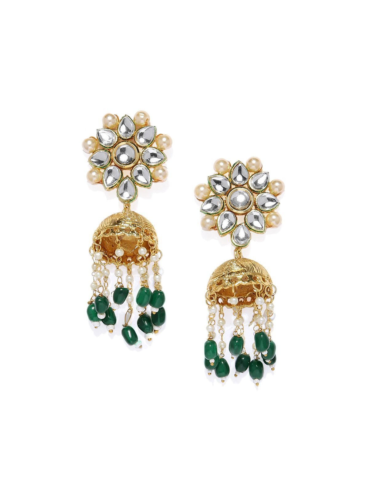 Gold Tone Traditional Kundan With Dangling Jhumka And Drops Earring