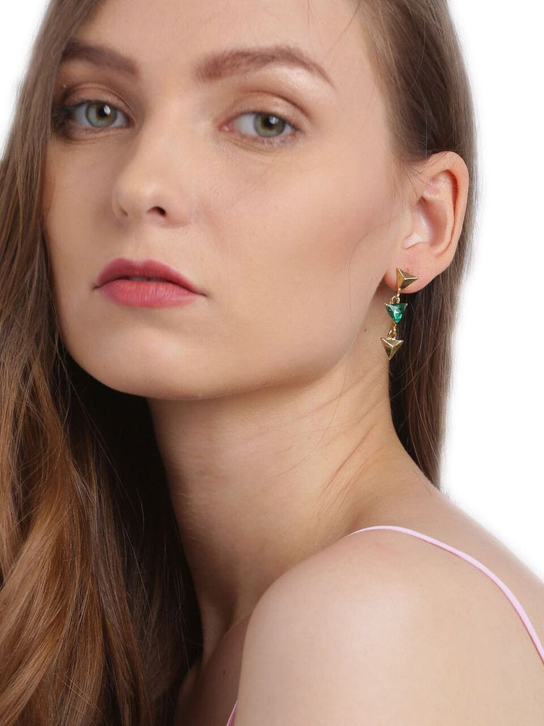 Gold Toned Arrow Down Earrings