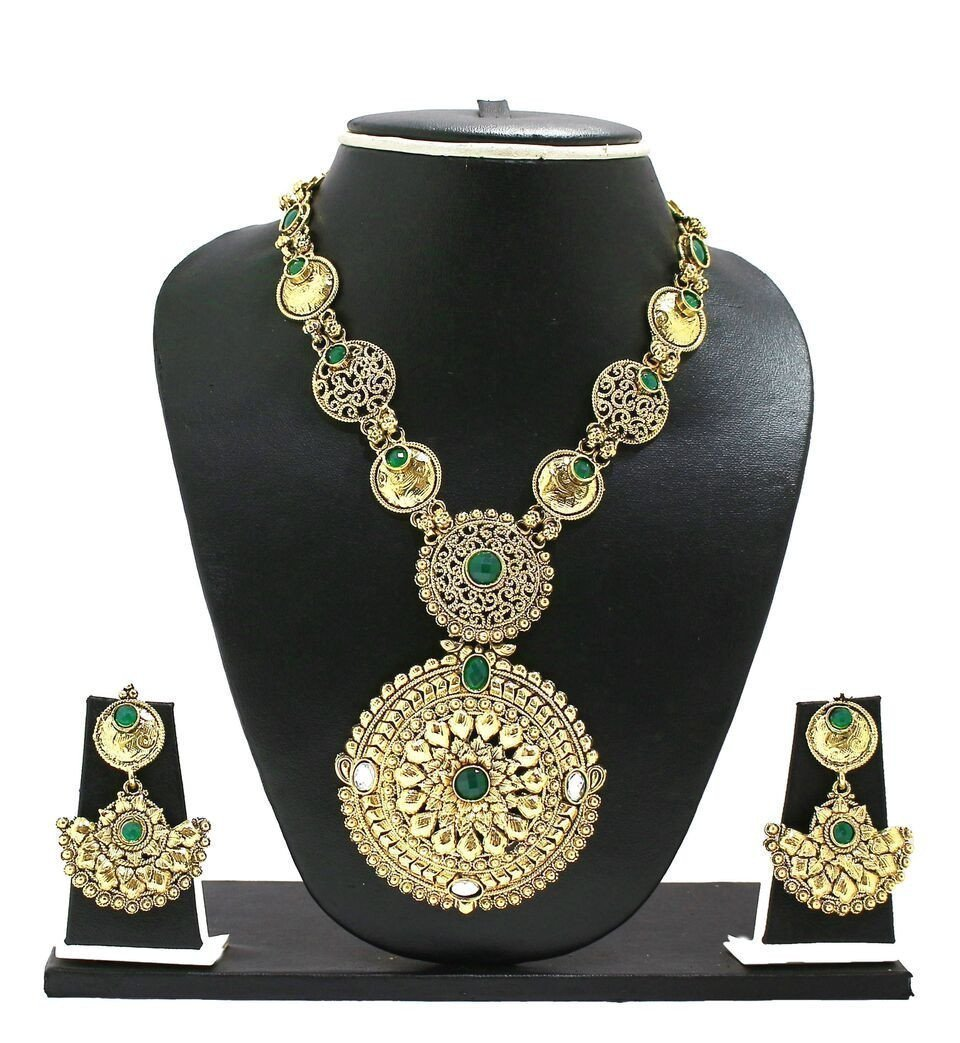 Zaveri Pearls Green Rajasthani Royal Necklace Set
