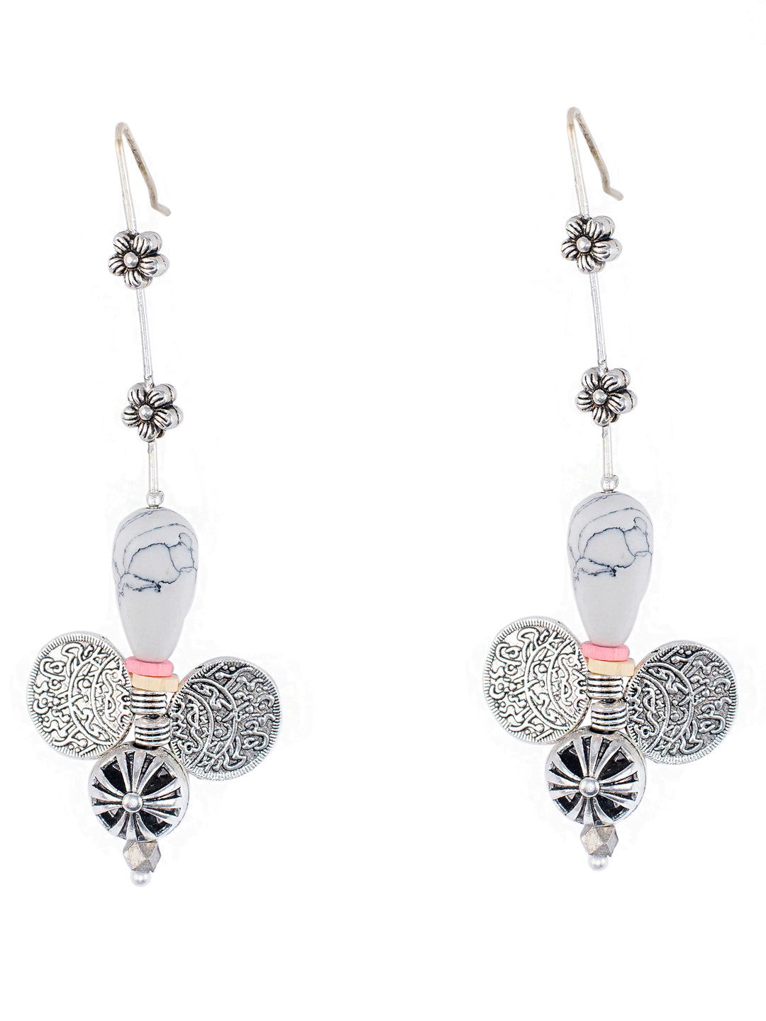 Ethnic White Dangler Earring-ANETRA1-Earring