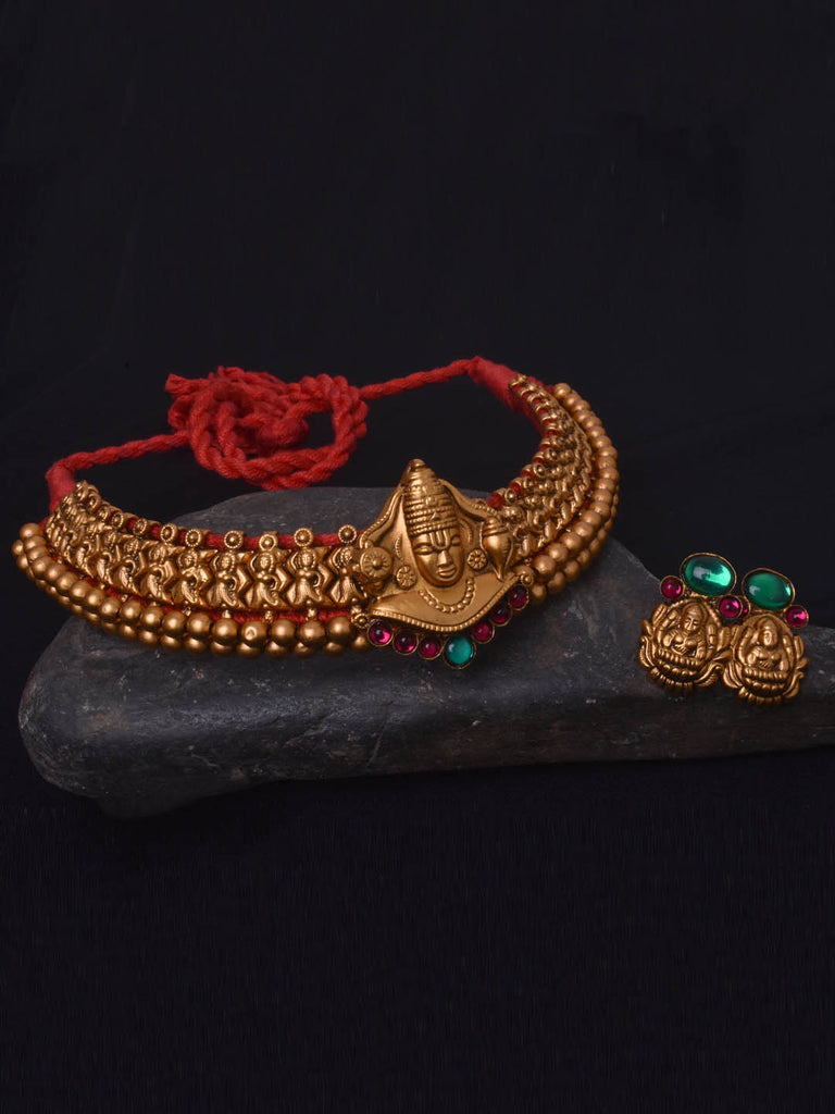 Avismaya Temple Jewellery Matt Gold Antique Finish Balaji Design Choker  Necklace Set