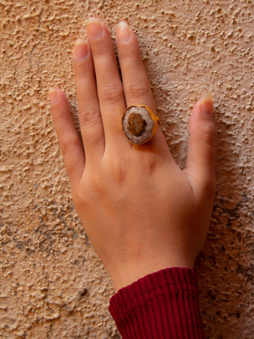 Avismaya Gold Plated Circle Design Brown Color Sugar Druzy Stone Finger Ring-AVISMAYA-Finger Ring