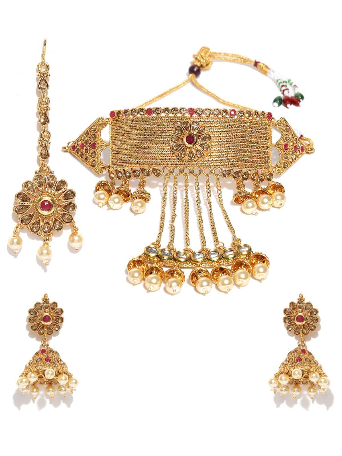 Zaveri Pearls Gold Tone Kundan & Pearls Bridal Choker Necklace Set