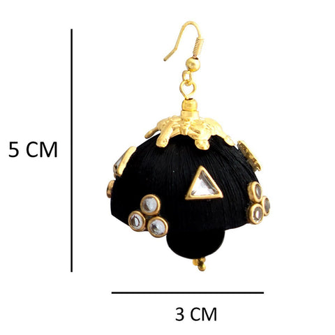 Gorgeous Dangling Drop Beads Black Silk Tokri Jhumki Earring