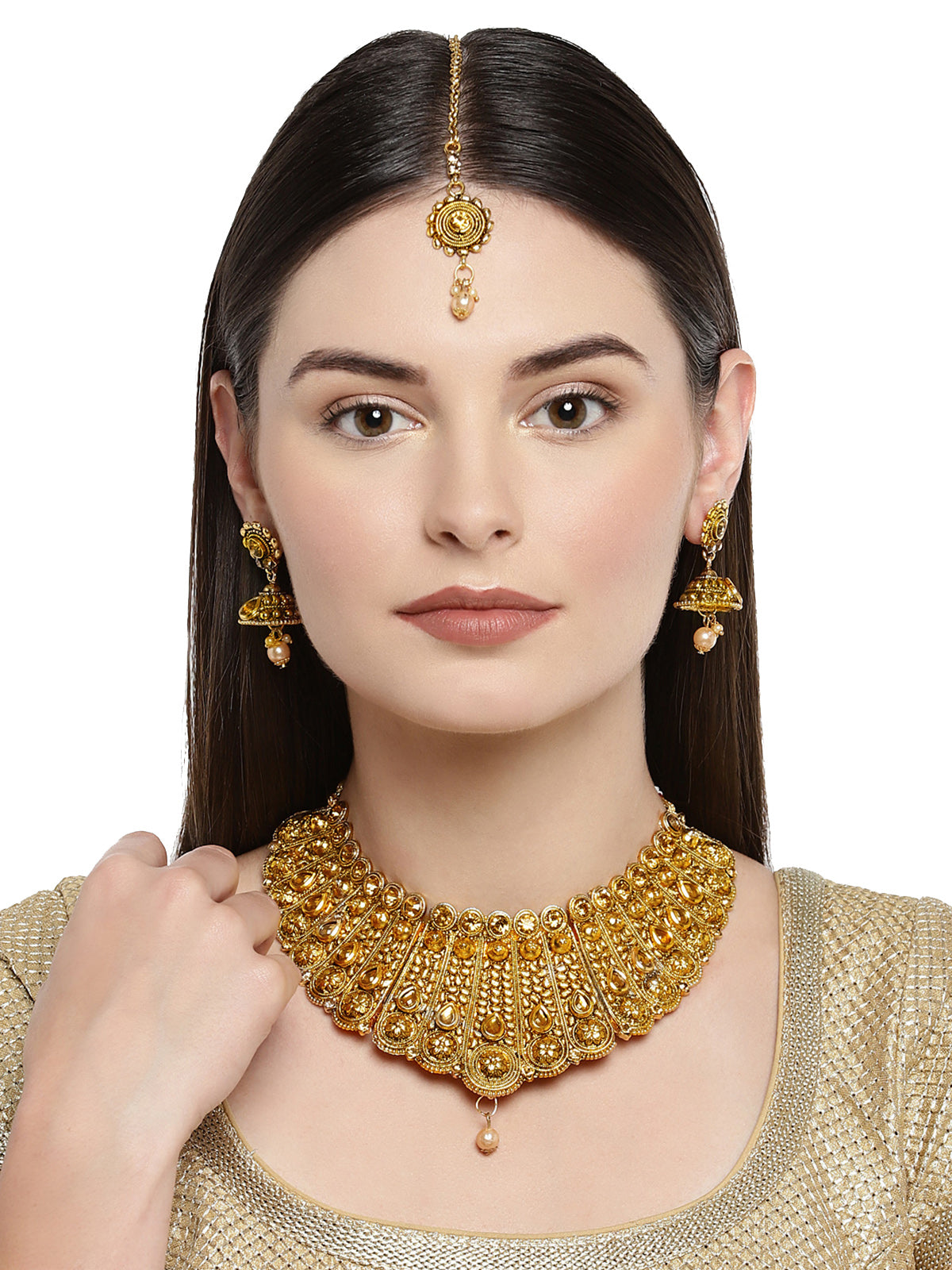 Zaveri Pearls Traditional Kundan And Pearl Bridal Necklace Set-ZAVERI PEARLS1-Jewellery Set