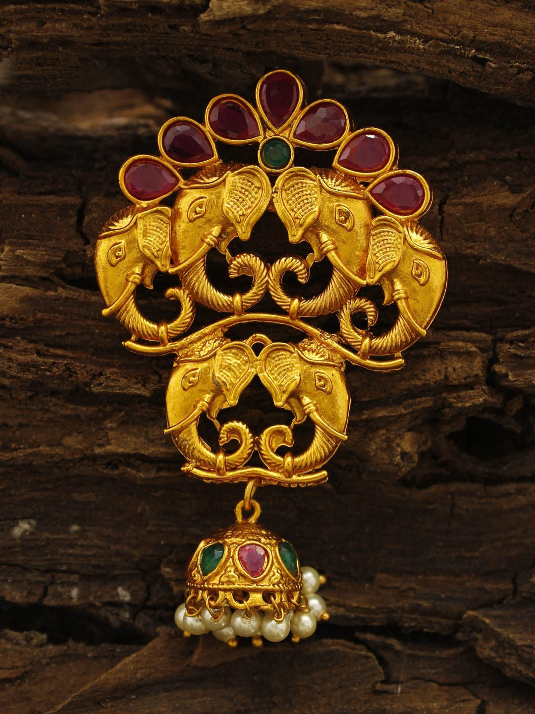 Avismaya Gold Plated Pink And Green Color Ruby Stone Elephant Design Pendant Set-AVISMAYA -Pendant Set