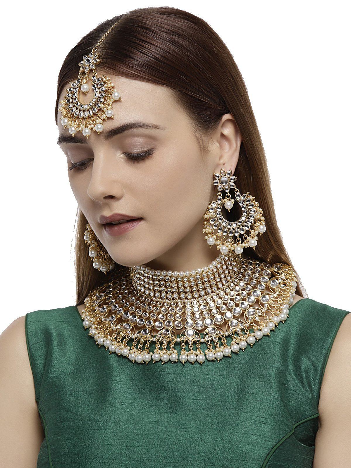 Gold Tone Beautifully Embellished With Kundan And Pearls Bridal Choker Necklace Set