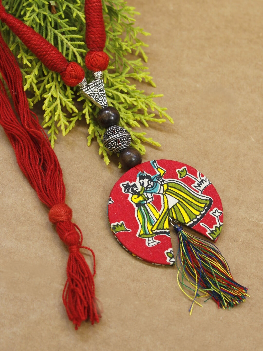 Handmade Kalamkari Fabric Printed Circle V Cut Tribal Pendant With Multicolor Tassel Adjustable Necklace Set-AVISMAYA1-Necklace Set