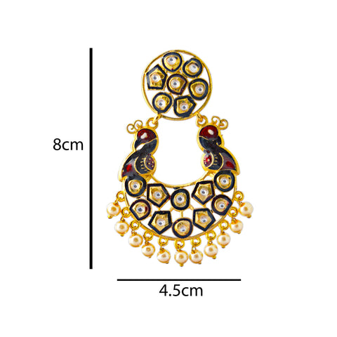 Mk Jewellers Maroon And Black Meenakari Circle Dual Peacock Kundan Dangler Earring