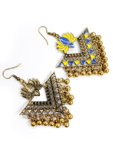 Aana Gold Plated Yellow And Blue Color Lotus Design Afghani Earring