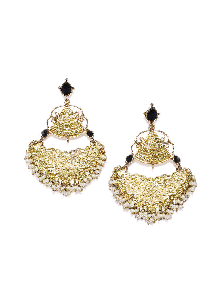 Zaveri Pearls Antique Gold Plated Embellish With Pearls Dangle Earring