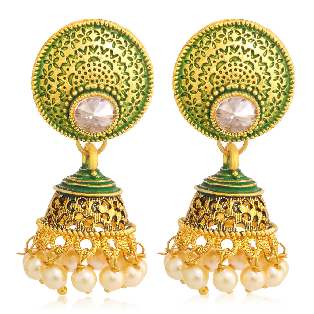 Sukkhi Fashionable Gold Plated Pearl Green Mint Meena Collection Jhumki Earring For Women-SUKKHI1-Earring
