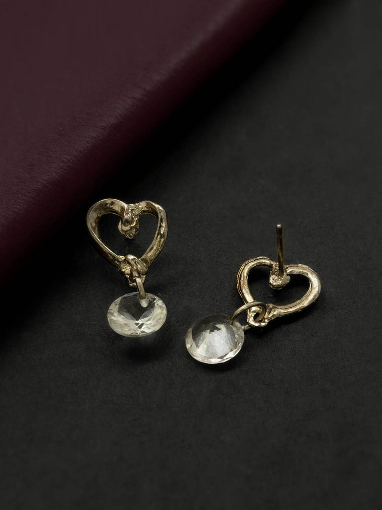 Gold Plating White Color Heart Design Stud Earring By Aana-AANA-Earring