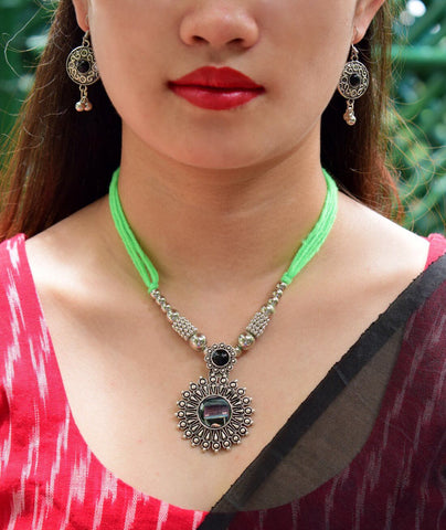 Oxidized Metal Navaratri Light Green Necklace Set