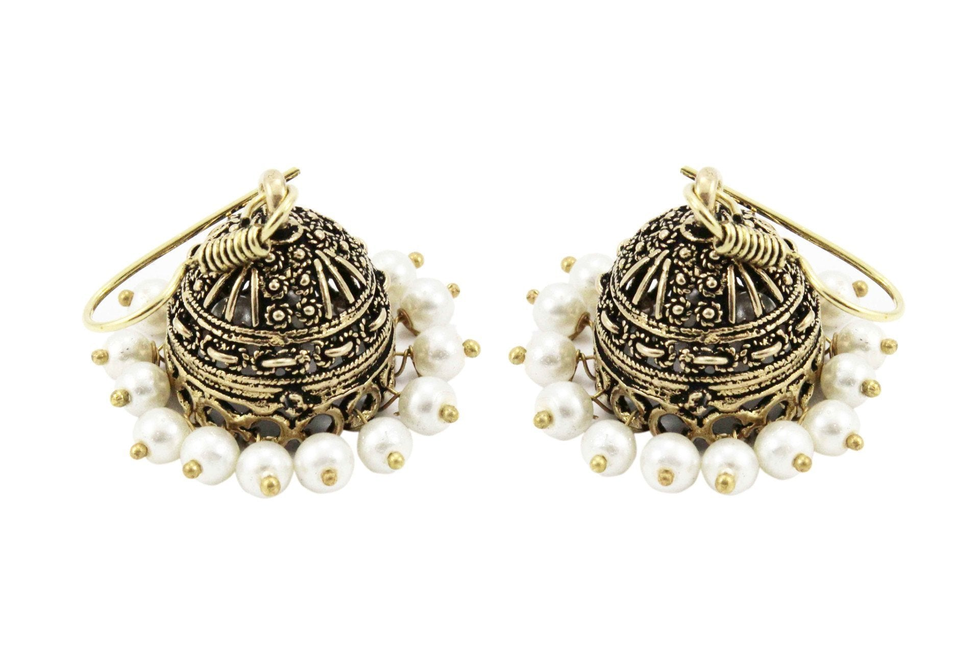 Gold Oxidised Metal Jhumka With White Pearls For Casual Wear