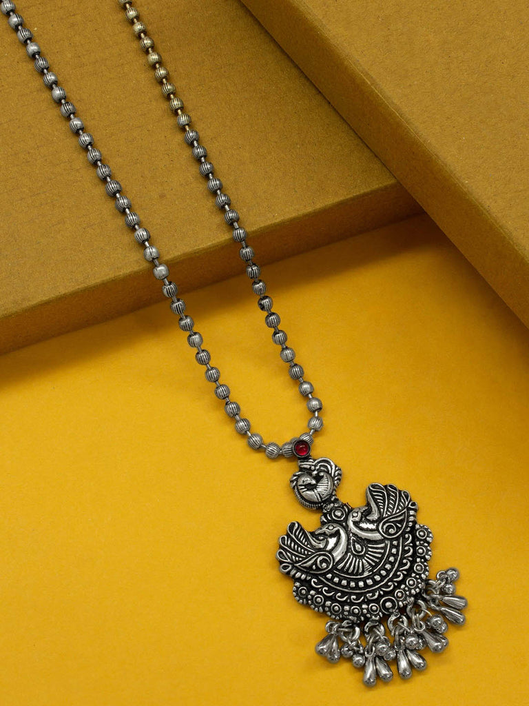 Oxidized German Silver Peacock Design Pendant With Silver Doppings Long Necklace-OXIDIZED-Necklace