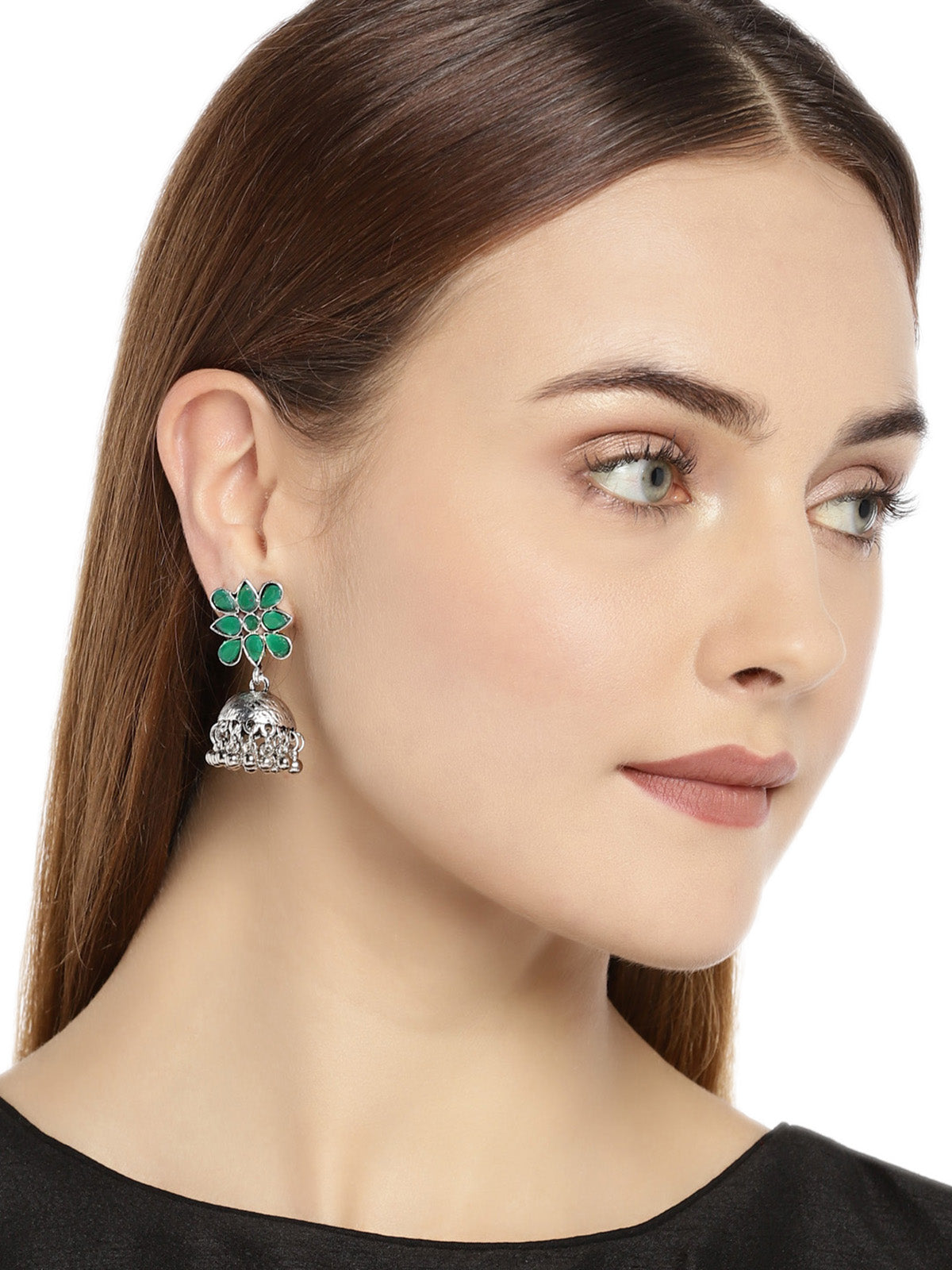 Combo Of 2 Zaveri Pearls Antique Silver Tone Jhumki Earring-ZAVERI PEARLS1-Earring