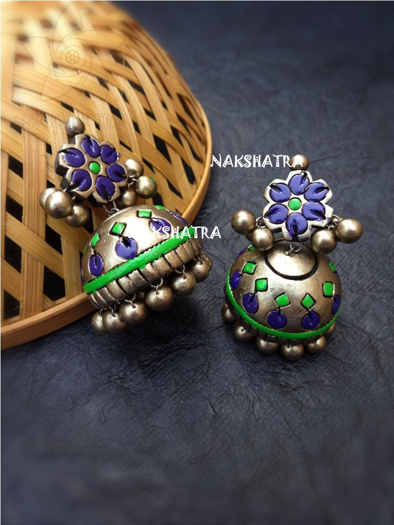 Handmade Terracotta Purple And Green Color Floral Design Jhumka Earring By  Nakshatra