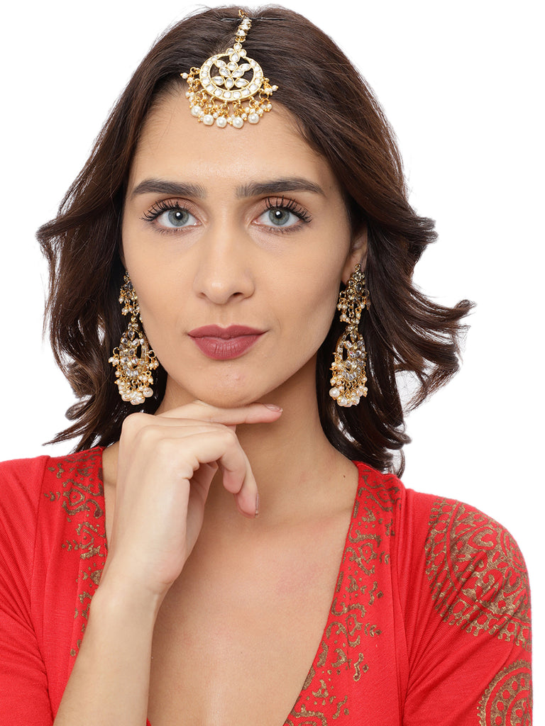 Zaveri Pearls Gold Tone Kundan And Pearls Traditional Earring And Maang Tikka Set-ZAVERI PEARLS1-Combo