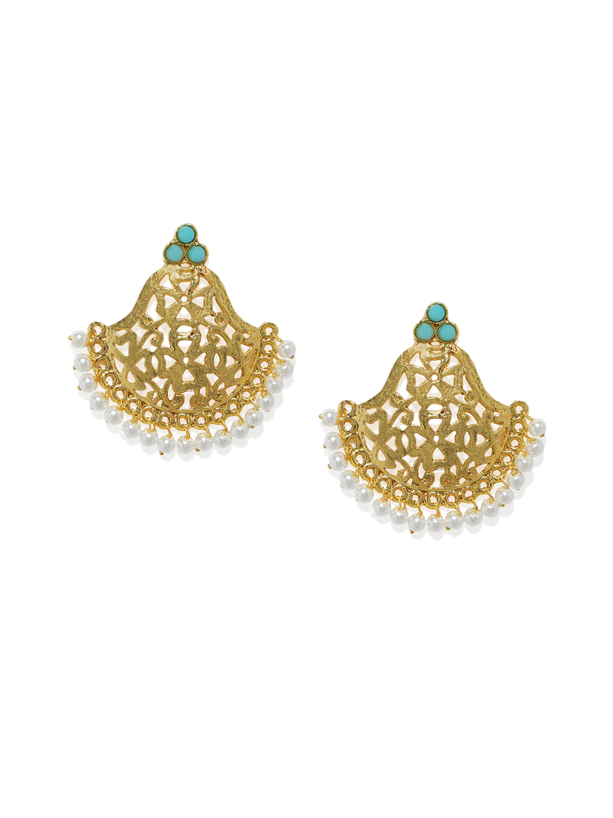Zaveri Pearls Antique Gold Tone Traditional Dangle And Drop Earring