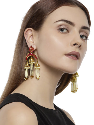 Gold Tone Traditional Dangling Jhumka Earring