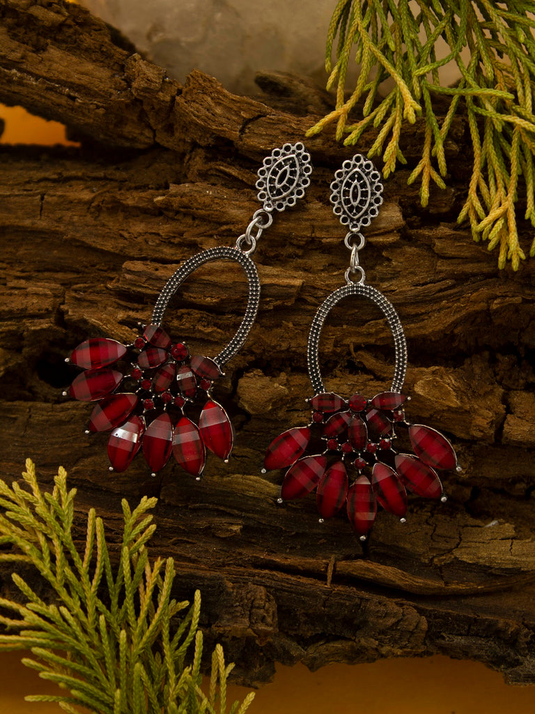 Aana Silver Plating Silver And Red Color Floral Design Afghani Earring-AANA-Earring