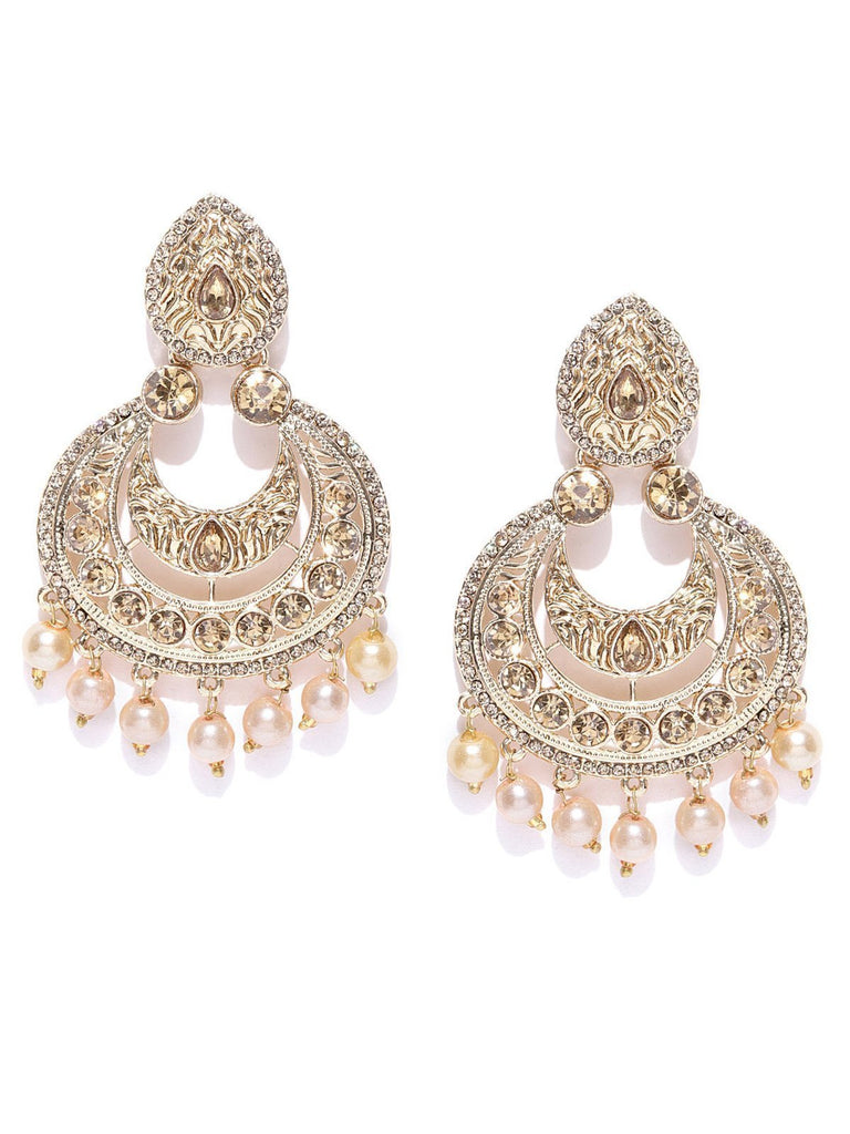 Zaveri Pearls Gold Tone Austrian Diamonds Studded Dangle And Pearl Drops Earring