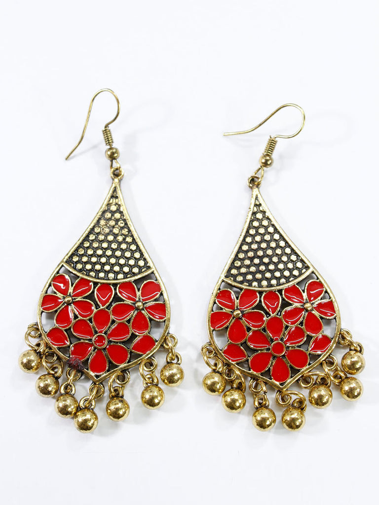 Aana Gold Plated Leaf Design Red Earring-AANA1-Earring
