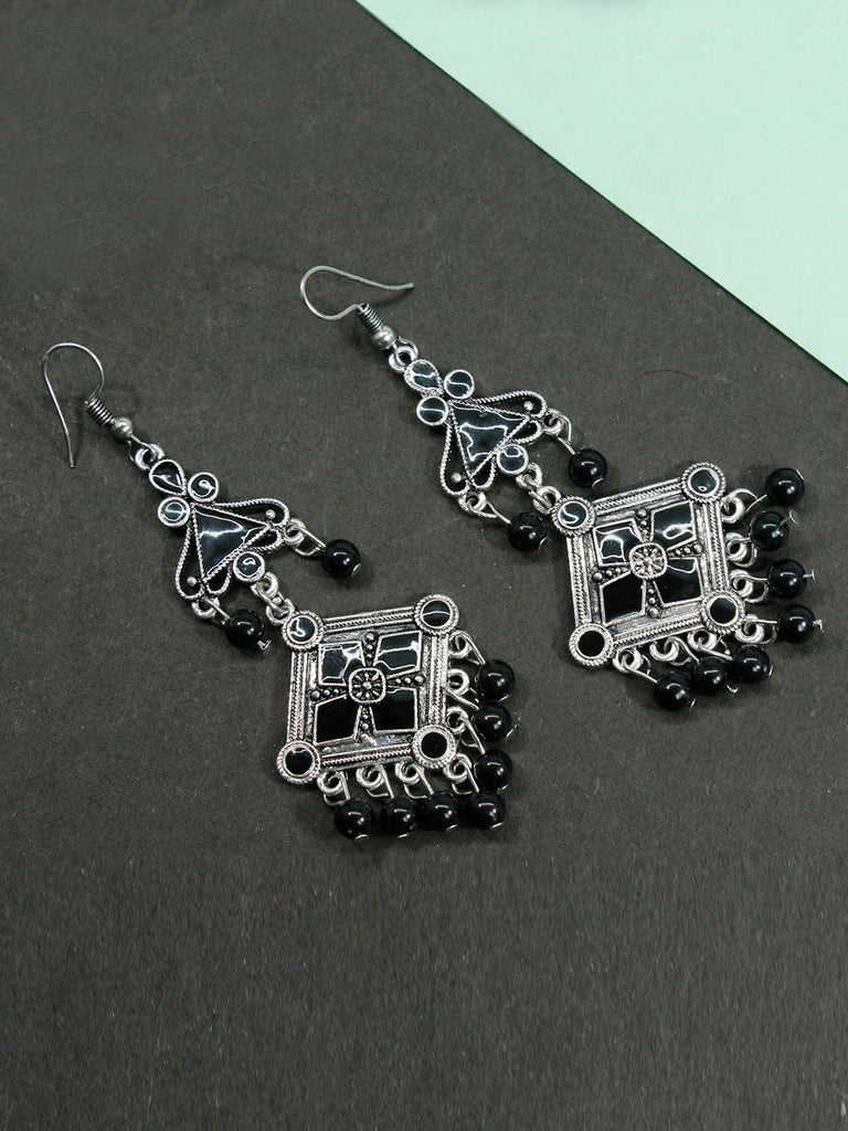 Aana Black Color Geometric Design Dangler Earring