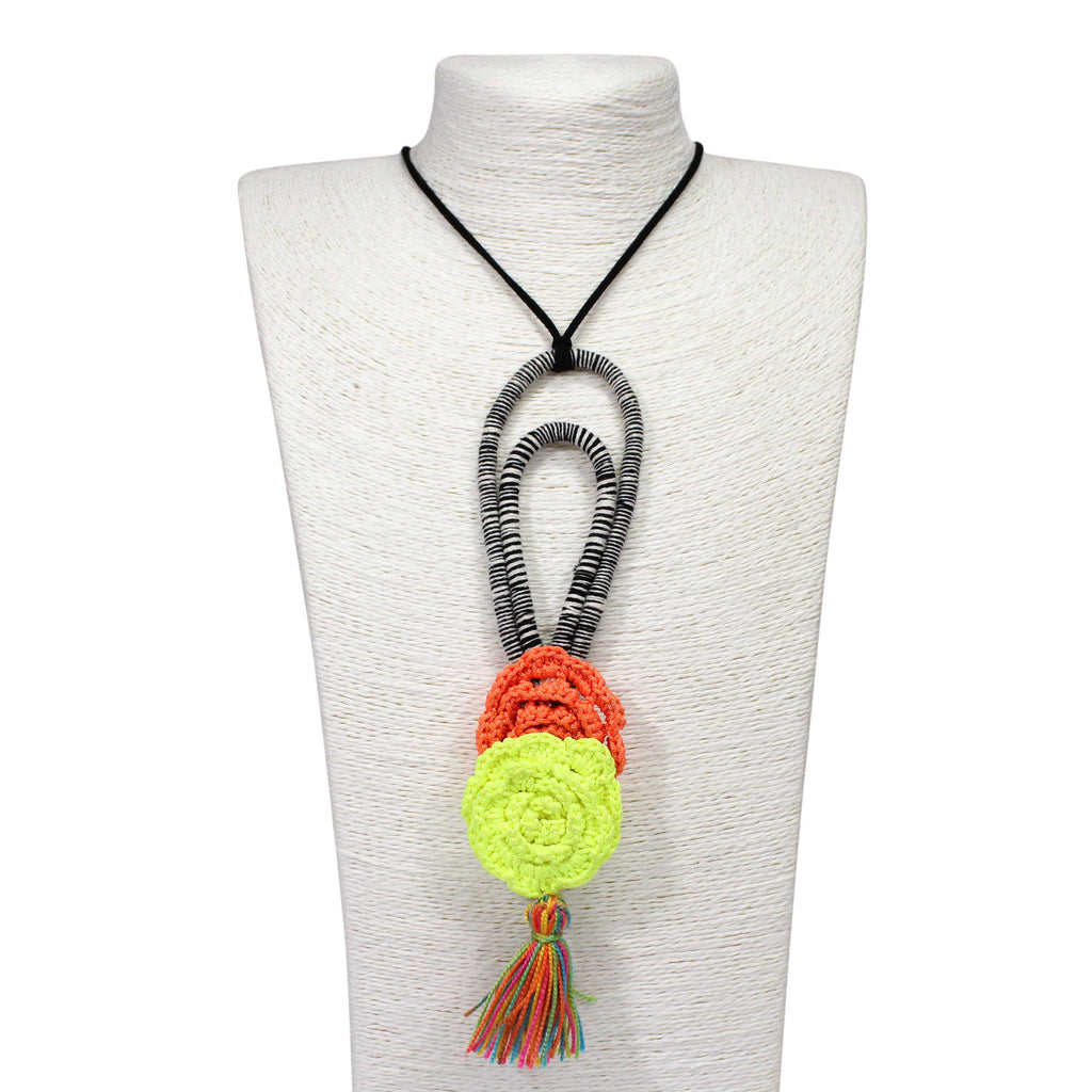 Hand Crafted Neon Green and Orange Crochet Flower Necklace
