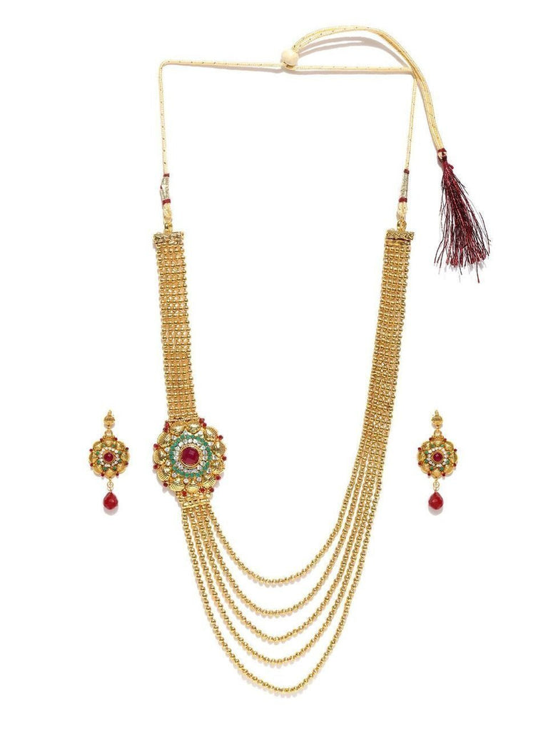 Zaveri Pearls Multistrand Haram Necklace Set