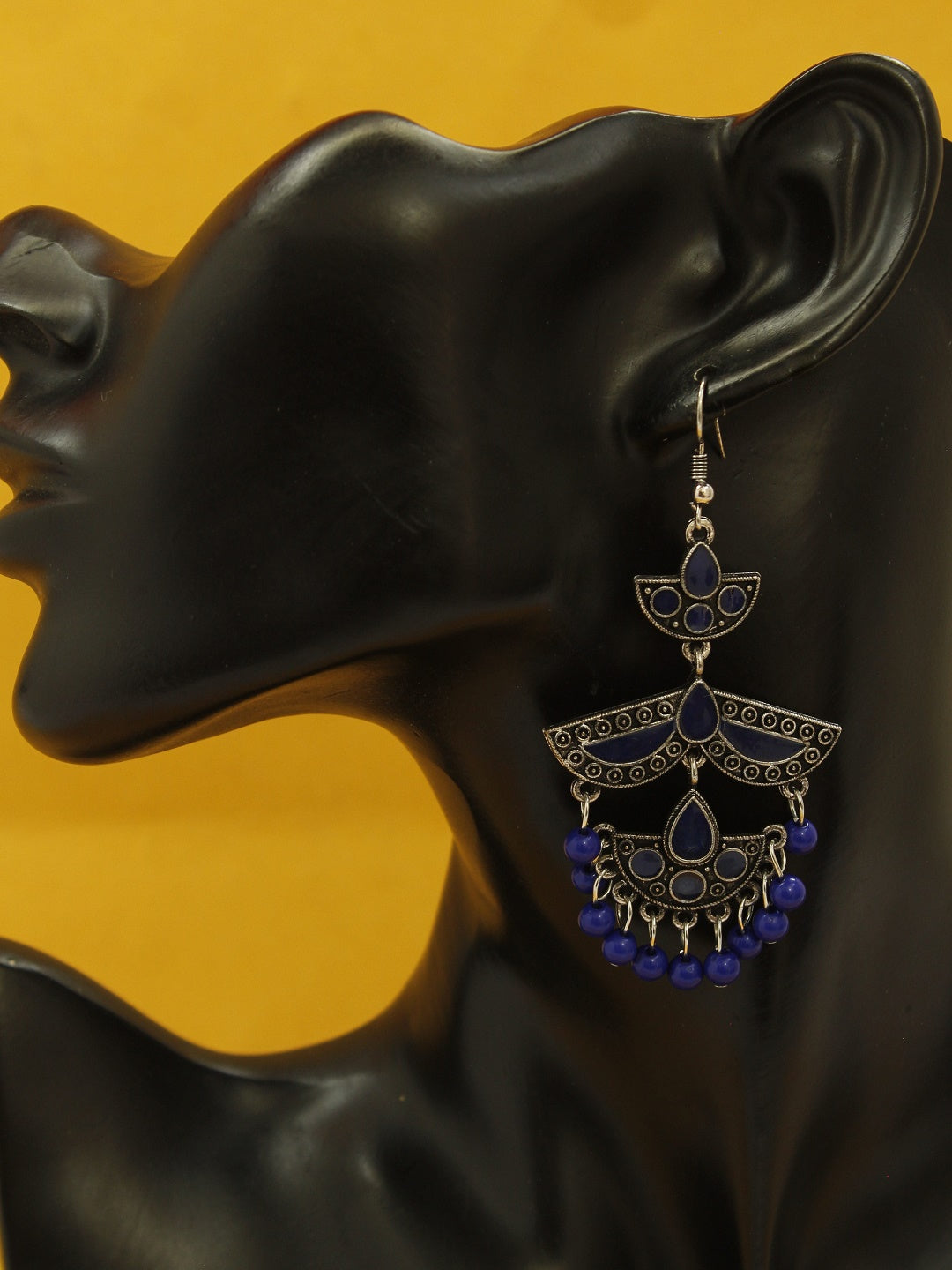 Aana Silver Plated Crescent Design Navy Color Enamel Painted With Hanging Navy Beads Dangler Earring-AANA-Earring