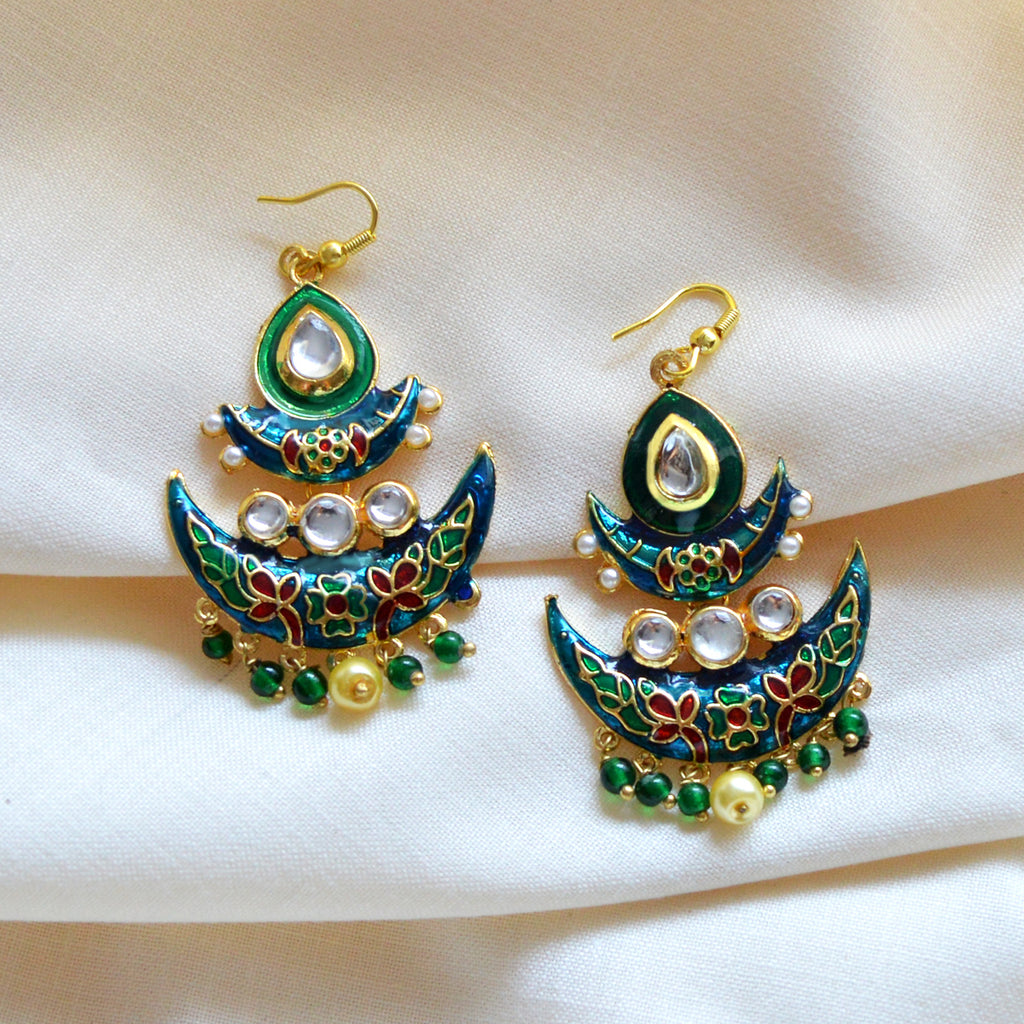 Green And Blue Meenakari Tribal Dual Half Moon Design With Kundan Earring