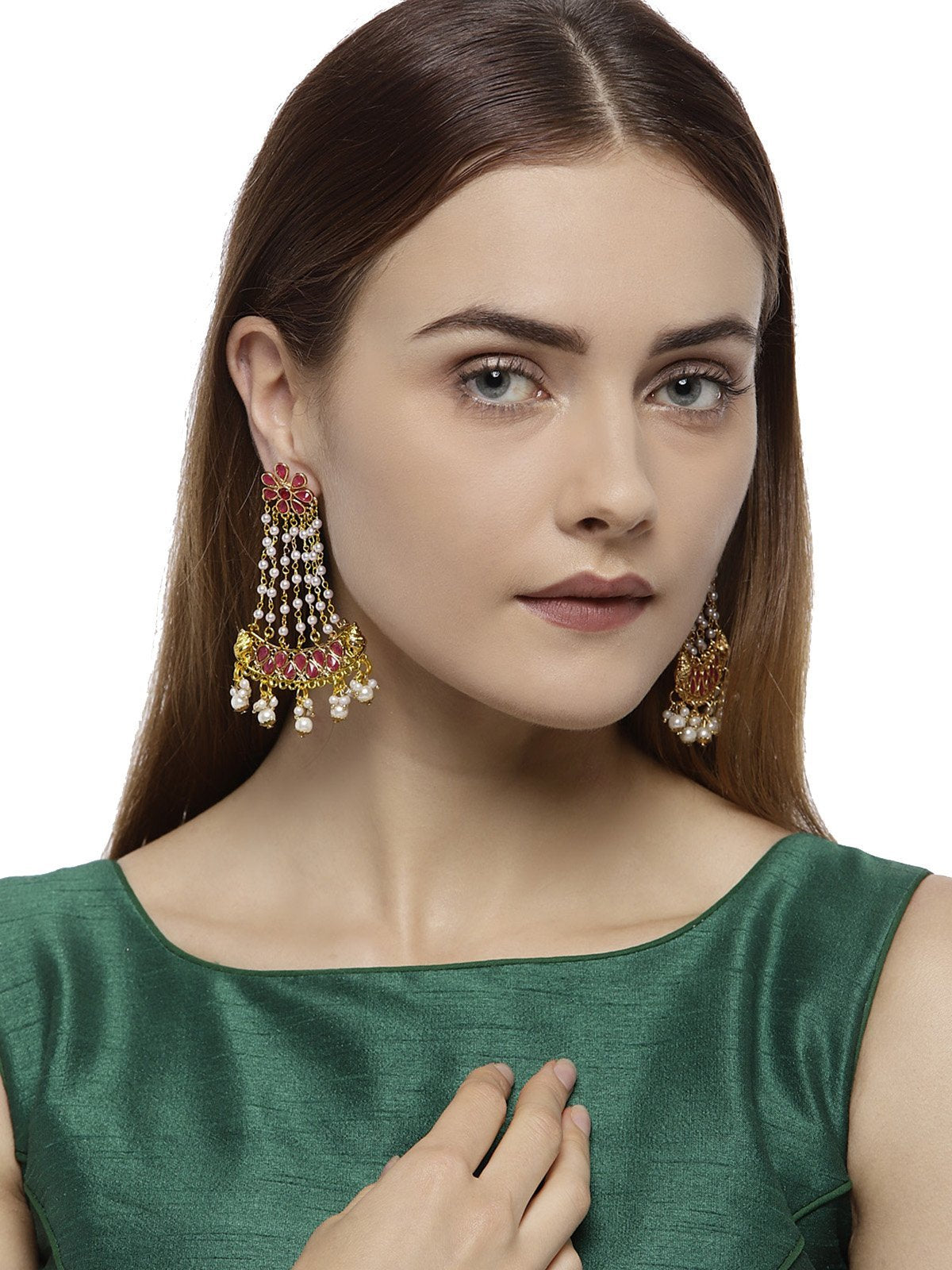 Gold Tone Traditional Jhoomar Dangler Earring