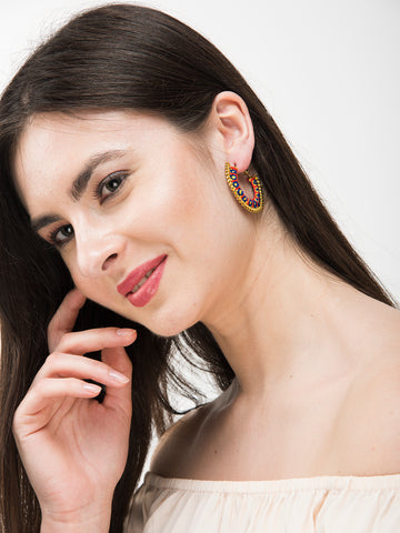 Yellow Colour Handmade Embroidered Latch Hoop Earring